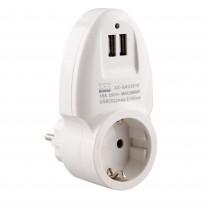 ADAPTADOR ONLEX 16A.CON DOBLE USB BLANCO