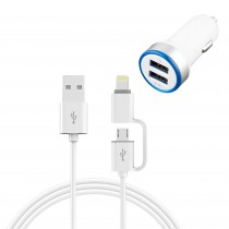 ADAPTADOR COCHE 2USB + CABLE IPHONE/ANDR